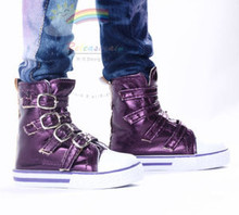 Buckles Ankle Faux Leather Sneakers Boots Shoes Metallic Grape for SD13 Boy Rainy Girl BJD Dollfie Dolls