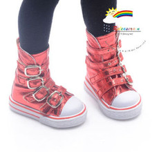 Buckles Ankle Leather Sneakers Boots Shoes Metallic Red for MSD Dollfie dolls
