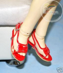 Doll Shoes Clear/Patent Red Bow Sandals For 1/4 MSD BJD Dollfie Dolls