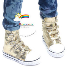 Buckles Ankle Faux Leather Sneakers Boots Shoes Gold for SD13 Boy Rainy Girl BJD Dollfie Dolls