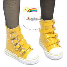 Buckles Ankle Leather Sneakers Boots Shoes Patent Yellow for SD Dollfie dolls