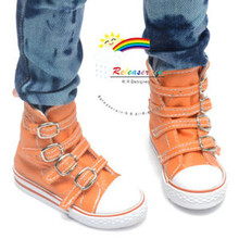Buckles Ankle Faux Leather Sneakers Boots Shoes Orange for SD13 Boy Rainy Girl BJD Dollfie Dolls