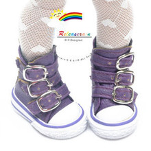 """Buckles Ankle Faux Leather Sneakers Boots Shoes Purple for Yo-SD Dollfie/12"""" Kish"""