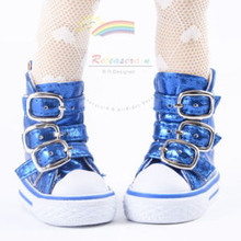 "Buckles Ankle Leather Sneakers Boots Shoes M. Blue for Yo-SD Dollfie/12"" Kish"