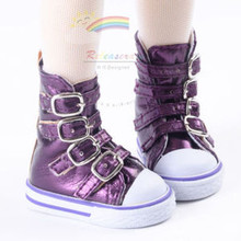 Buckles Ankle Leather Sneakers Boots Shoes Metallic Grape for MSD Dollfie dolls