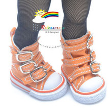 """Buckles Ankle Faux Leather Sneakers Boots Shoes Orange for Yo-SD Dollfie/12"""" Kish"""