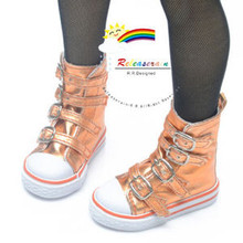 Buckles Ankle Leather Sneakers Boots Shoes Metallic Orange for SD Dollfie dolls