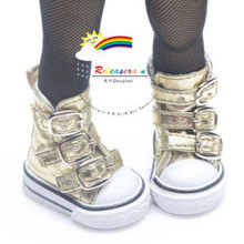 """Buckles Ankle Faux Leather Sneakers Boots Shoes Gold for Yo-SD Dollfie/12"""" Kish"""