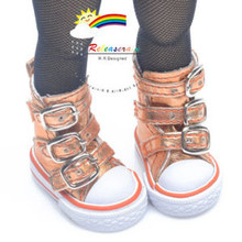 """Buckles Ankle Faux Leather Sneakers Boots Shoes M. Orange for Yo-SD Dollfie/12"""" Kish"""