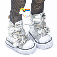 """Buckles Ankle Faux Leather Sneakers Boots Shoes Silver for Yo-SD Dollfie/12"""" Kish"""