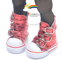 """Buckles Ankle Faxu Leather Sneakers Boots Shoes M. Red for Yo-SD Dollfie/12"""" Kish"""