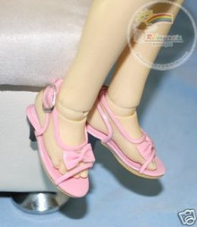 Doll Shoes Clear/Patent Pink Bow Sandals For 1/4 MSD BJD Dollfie Dolls