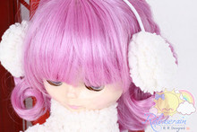 "Releaserain Sherpa Winter Show White Doll Earmuffs For 12"" Blythe dolls"