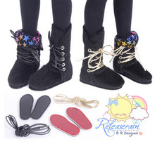 "2-Way Pony Hair Fur Boots Shoes Black/Rainbow Star for 14"" Kish/MSD Dollfie doll"