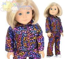 """Black Rainbow Stars Velvet Outfit Jacket & Pants for 18"""" American Girl dolls"""