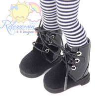 """Black Faux Pony Hair/Patent Leather Boots Shoes for Yo-SD Dollfie/12"""" Kish dolls"""