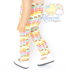 """Yellow Rainbow Petals Leggings Pants Doll Clothes Outfit for 18"""" American Girl"""