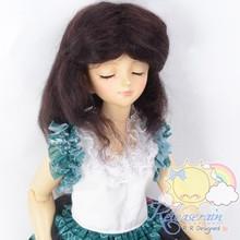 "Mohair Wool Doll Wig 7-8"" #M108 Very Dark Brown for MSD BJD, Kaye Wiggs, Ellowyne"