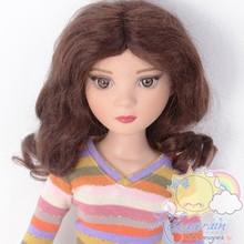 "Mohair Wool Doll Wig 7-8"" #M29 Wine Brown for MSD BJD, Big Head Yo-SD, Ellowyne"