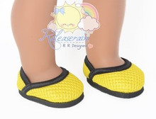 "Athletic Mesh Black Wrapped Rim Yellow Pumps Shoes for 18"" American Girl dolls"