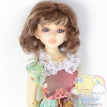 "Mohair Wool Doll Wig 6-6.5"" #Y53 Brown/Blonde Hair for Unoa, Small Head Yo-SD"