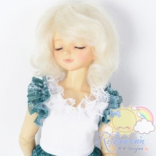 "Mohair Wool Doll Wig 7-8"" #M44 Ivory White for MSD, Kaye Wiggs, Big Head Yo-SD"
