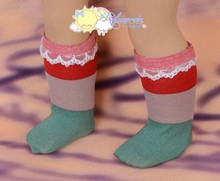 """Red/Coffee/Green Wide Stripes White Lace Trim Socks for 18"""" American Girl dolls"""