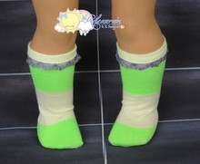 """Lime Green/Light Yellow Cotton Lace Trim Socks for 18"""" American Girl dolls"""