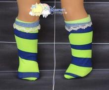 "Lime Green/Dark Blue Irregular Stripe Lace Trim Socks for 18"" American Girl doll"