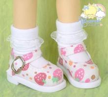 "Strawberry Denim White Mary Jane Shoes for Yo-SD BJD Dollfie/12"" Kish Dolls"