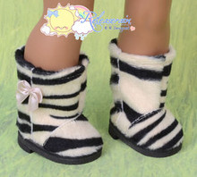 "Doll Shoes Fluffy Faux Fur Boots Beige with Black Tiger for 18"" American Girl"