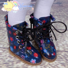 """Doll Shoes Martin Lace-Up Stitching Boots Flowers Navy Blue for Yo-SD BJD Dollfie, Littlefee, 12"""" Kish dolls"""