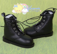 Black Lace-Up Work Boots Shoes for SD13 Boy, Rainy Girl, Unoss Dollfie BJD Doll