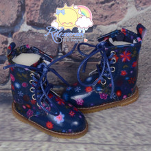 Martin Stitch Shoes Boots Flowers Navy Blue for MSD BJD Dollfie/Kaye Wiggs Doll