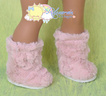 "Doll Shoes Fluffy Fuzzy Faux Fur Boots Shaggy Dusty Pink for 18"" American Girl"