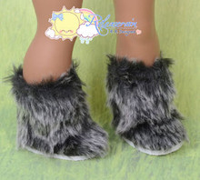 "Doll Shoes Fluffy Fuzzy Faux Fur Boots Shaggy Grey/Black for 18"" American Girl"