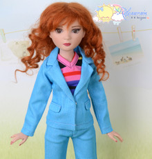 """16"""" Fashion Doll Clothes Bright Blue Suit Jacket Jeans 3pcs Set Outfit for Tonner Ellowyne Wilde"""