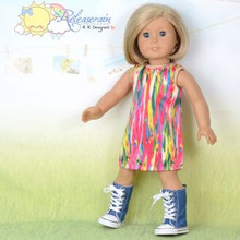 "Doll Clothes Abstract Rainbow Bamboo Satin Dress for 18"" American Girl Dolls"