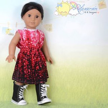 "Doll Clothes Gradated Red Ink Drops Elastic Waist Dress for 18"" American Girl"