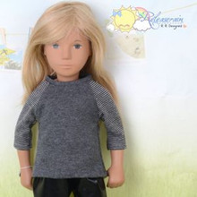 "Doll Clothes Grey with Grey/Black 3/4 Sleeve Tee T-Shirt for 16"" Sasha Dolls"