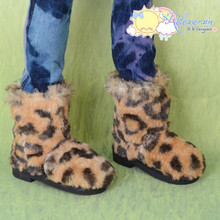 Doll Shoes Fluffy Furry Fuzzy Boots Leopard for SD13 Boy, Rainy Girl, Unoss Dollfie BJD