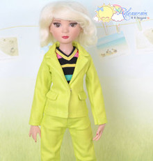 "16"" Fashion Doll Clothes Lime Denim Suit Jacket Jeans 3pcs Set Outfit for Tonner Ellowyne Wilde"