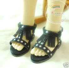 Dollfie MSD Shoes Suede Fringe T-Strap Sandals Black
