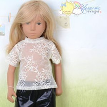 "Doll Clothes Creamy White Lace Short Sleeves Tee T-Shirt for 16"" Sasha Dolls"