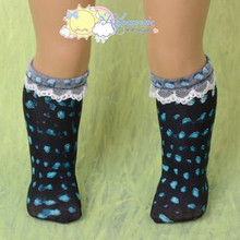 "Doll Clothes White Lace Trim Black Teal Drops Socks for 18"" American Girl"