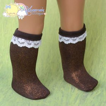 "Doll Clothes White Lace Trim Metallic Brown Socks for 18"" American Girl Dolls"