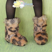 Doll Shoes Fluffy Furry Fuzzy Boots Shaggy Leopard for SD Girl Dollfie BJD Dolls