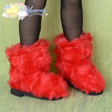 "Doll Shoes Fluffy Furry Boots Red for MSD Kaye Wiggs BJD Dollfie 16"" Sasha"