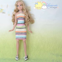 Doll Clothes Rainbow Stripe Halter Neck Dress for Tonner Tyler/Ellowyne/Unoa MSD
