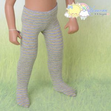 "Doll Clothes Knit Pantyhose Stockings Tights Yellow Stripes/Grey for 16"" Sasha"